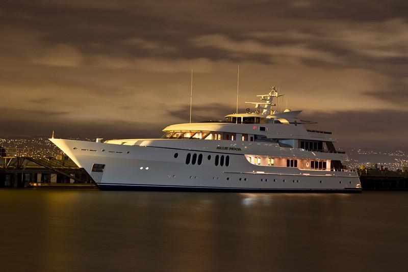 Blue Moon yacht docked on Treasure Island