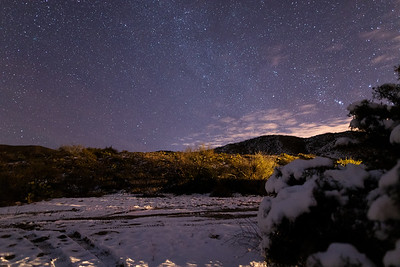 Snow on a cold clear night in the Tortolita Mountains