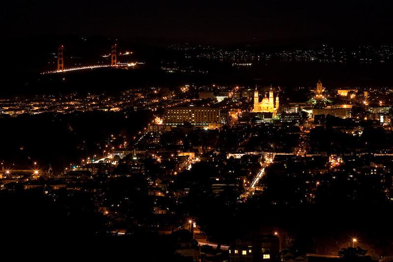 City lights of San Francisco showing Golden Gate Bridge