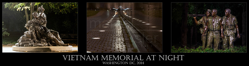 Vietnam Memorial At Night