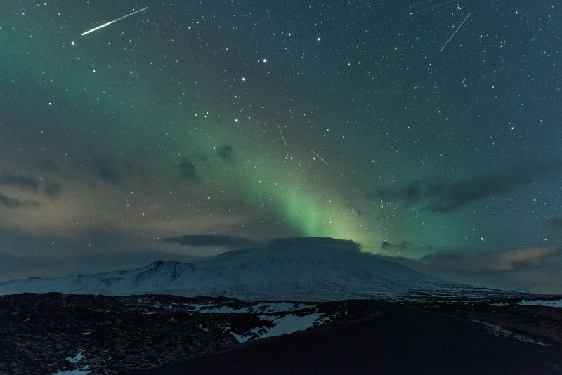 Meteor shower and Northern Lights over Snæfellsnes glacier, Iceland