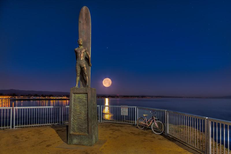 Surfer Statue Moonrise