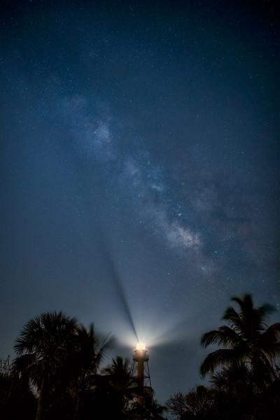 The Milky Way over the Sanibel Lighthouse on Sanibel Island, Florida