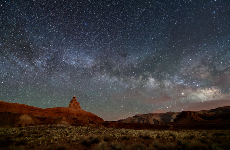 The Milky Way over Mexican Hat Rock formation near Mexican Hat, Utah