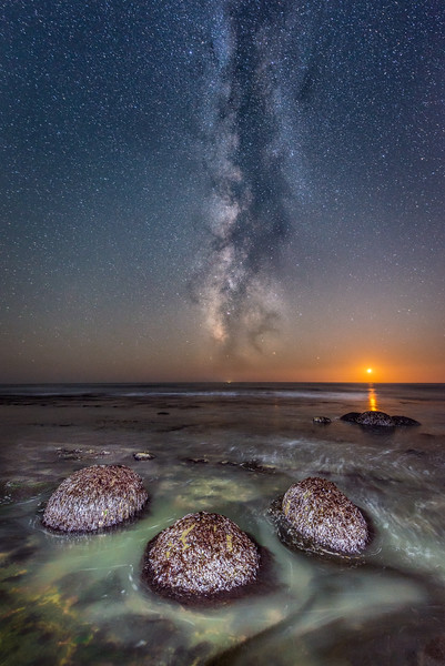 Bowling Ball Beach with Setting Moon & Milky Way, Mendocino County