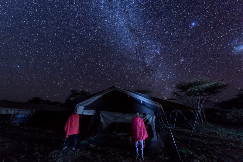 Two Masai warriors guarding my tent at night at Ndutu Wilderness Camp, Tanzania, East Africa