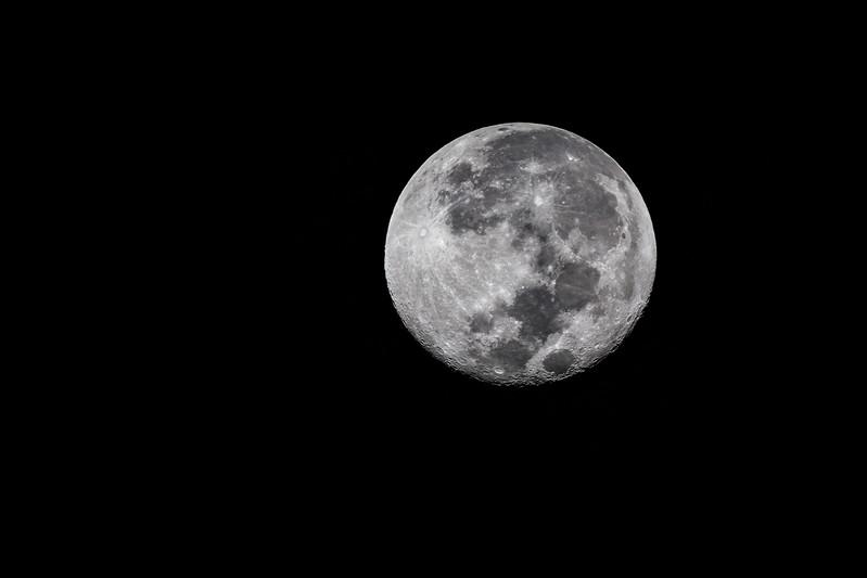Almost full moon, Ndutu, Tanzania, East Africa