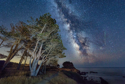 Perseid Meteor at Pebble Beach, Sea Ranch, California