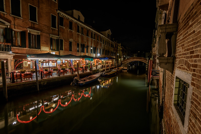 Fondamenta S. Lorenzo Trattoria at night, Venice, Italy