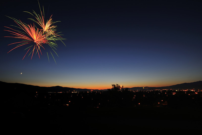 Fireworks over Missoula, Montana on July 4th