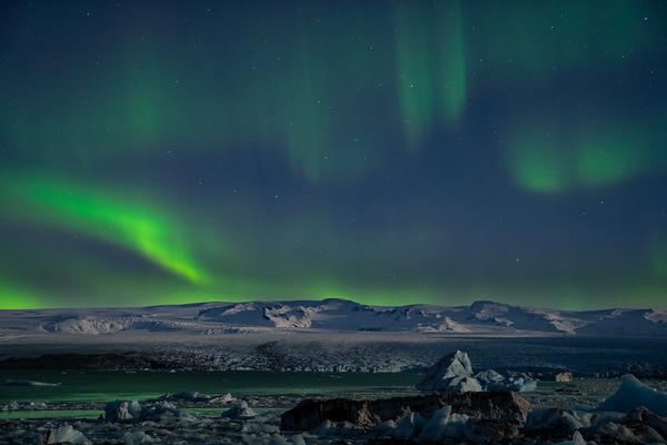Aurora over Jökulsárlón, Iceland