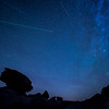 Perseids meteor shower over toadstool rock formations at Toadstool Geological Park in northwestern Nebraska