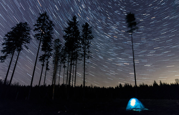 Camping under the startrails