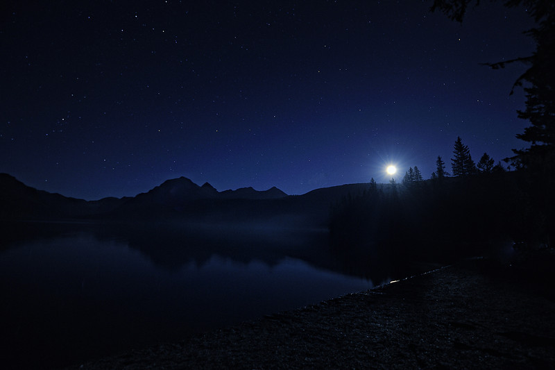 Moonrise Over Bowman Lake, Glacier National Park, Montana