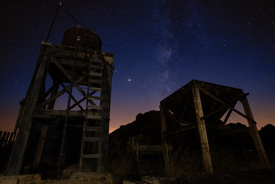 Milky Way and meteors over the water tower at Keys Ranch, Joshua Tree National Park