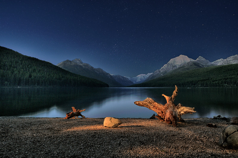 Night Sky Over Bowman Lake, Glacier National Park, Montana