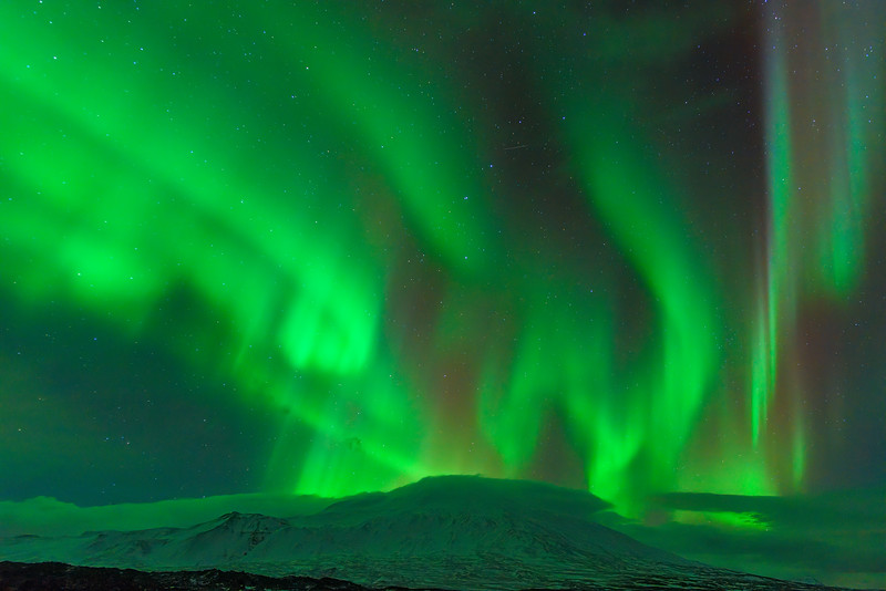 Stars and Northern Lights over Snæfellsnes Glacier, Iceland