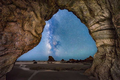 Rainbow Rock Sea Cave & Milky Way, Study 2, Brookings, OR