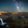 The Milky Way over Palouse Falls just as the moon is setting around 2 a.m.