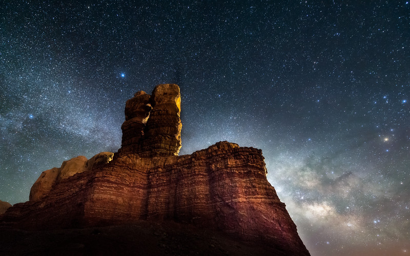 The Milky Way over Twin Rocks in Bluff, Utah