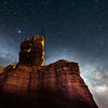 The Milky Way over Twin Rocks in Bluff, Utah