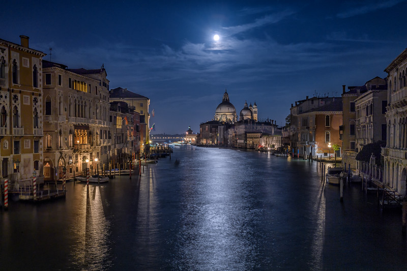 Moon over Santa Maria della Salute Church from the Accademia Bridge, Venice Italy