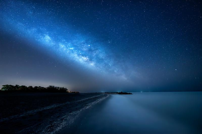 The Milky Way and Jupiter over Turner Beach on Captiva Island, Florida