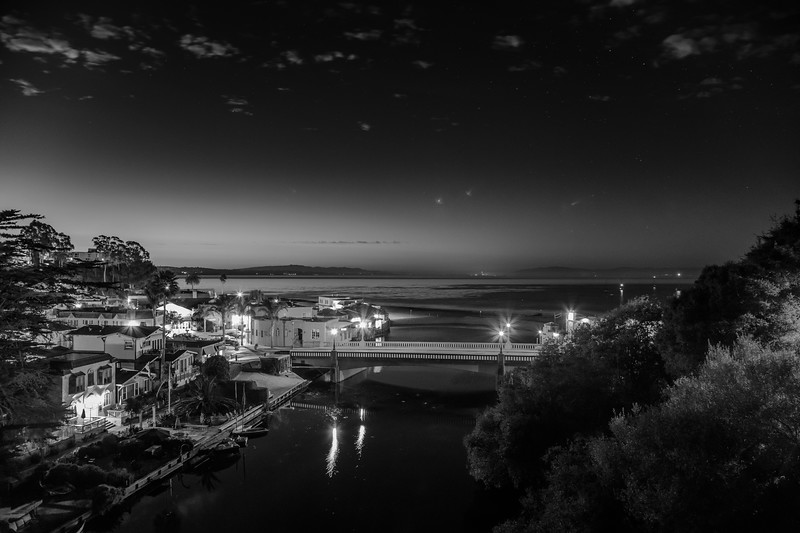 Capitola Night in Black & White