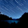 Star Trails over Little Goose Island and Lake MacDonald, Glacier National Park, Montana