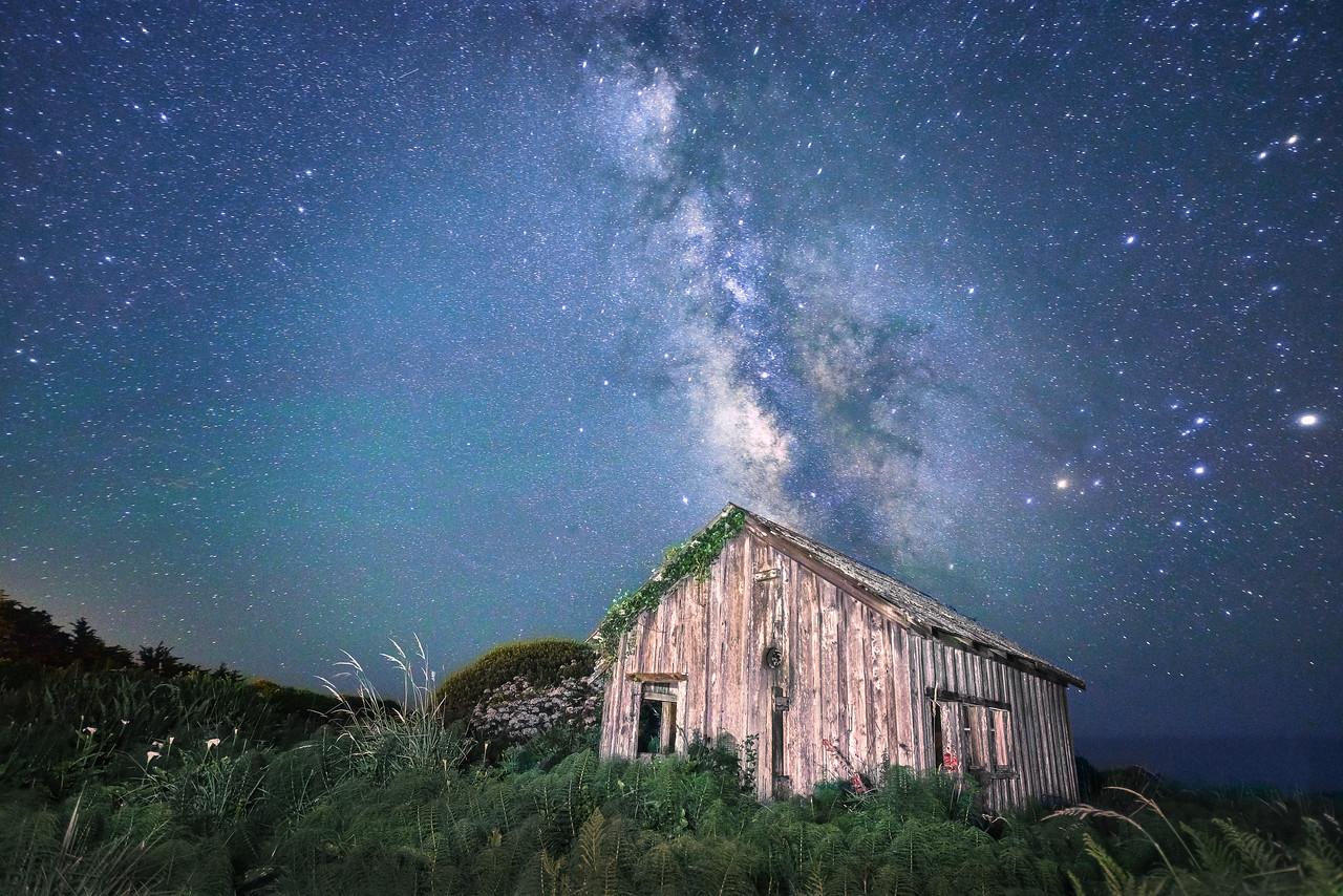 Cabin & Milky Way, Sea Ranch, California