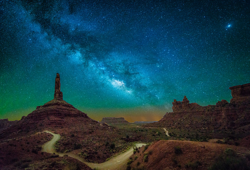 The Milky Way over Valley of the Gods near Bluff, Utah