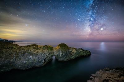 Arched Rock and Milky Way, Sea Ranch, California