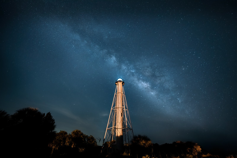 The Milky Way over the Gasparilla Island Lighthouse