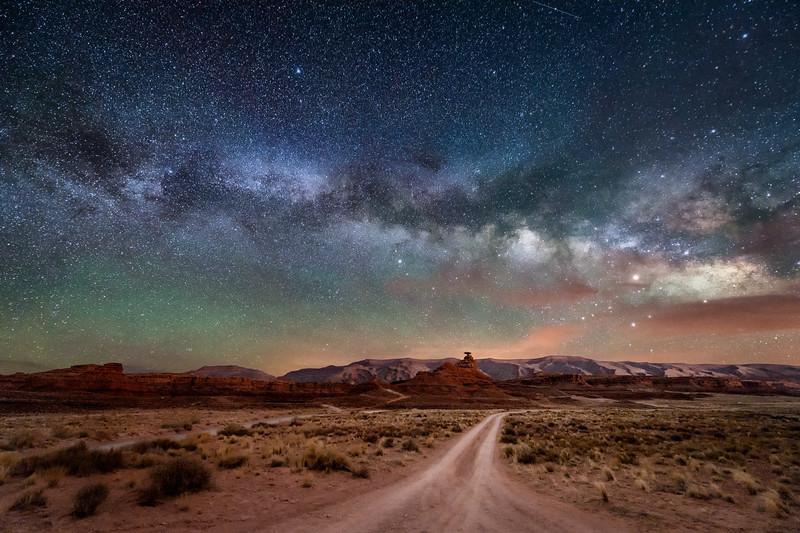 Milky Way over Mexican Hat Rock, Utah