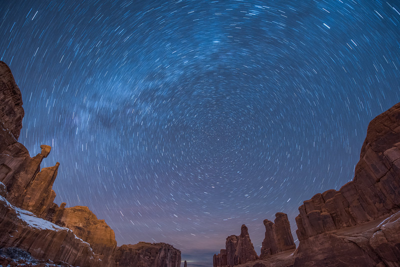 Star Trails over Park Avenue section of Arches National Park, Moab, Utah