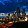 Long exposure of Seattle skyline from Jose Rizal Bridge, Washington State
