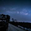 The Milky Way reflected in marsh along dirt road at Babcock Wildlife Management Area near Punta Gorda, Florida
