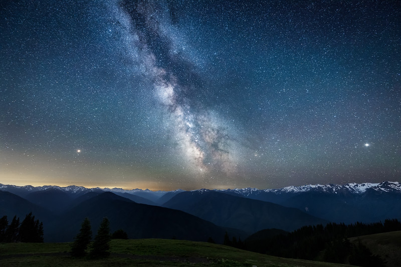 The Milky Way with Mars and Jupiter over the Olympic Mountains at Hurricane Ridge, Olympic National Park, Washington State
