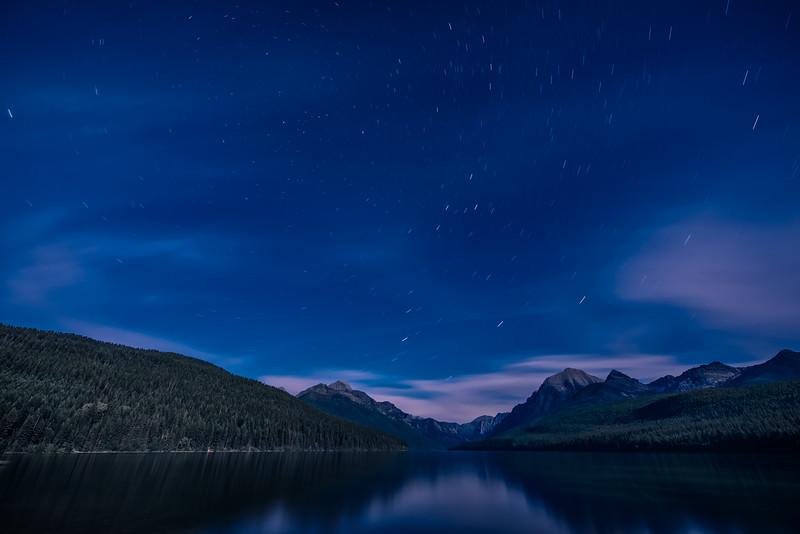 Star Trails over Bowman Lake, Glacier National Park, Montana