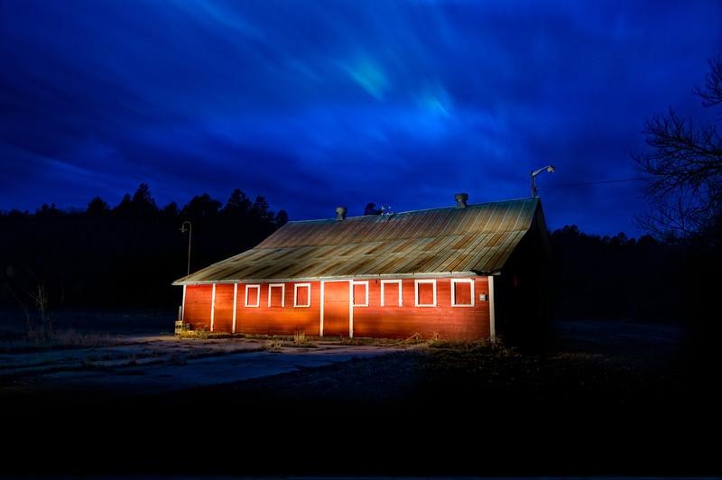 Red barn lightpainted at night, Valentine, Nebraska
