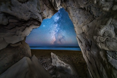Walk on Beach Sea Cave & Milky Way, Study 1, Sea Ranch, CA