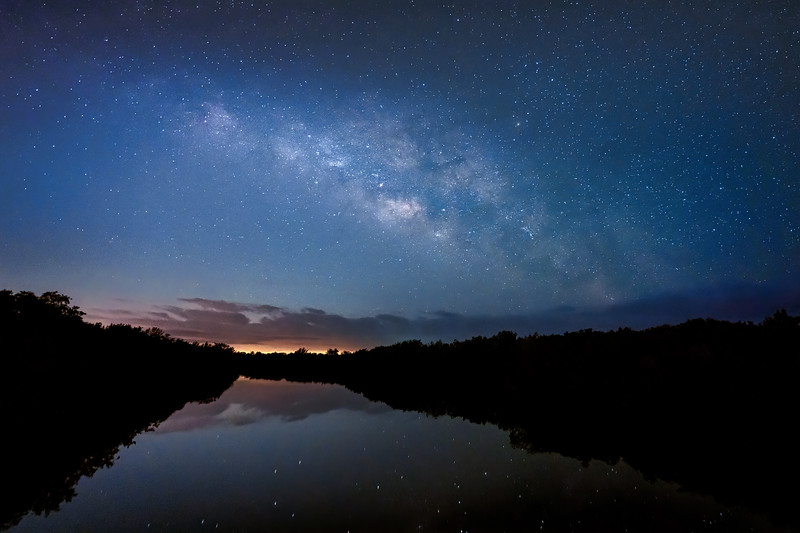 The Milky Way over the Bowman's Beach Mangrove Canal on Sanibel Island, Florida