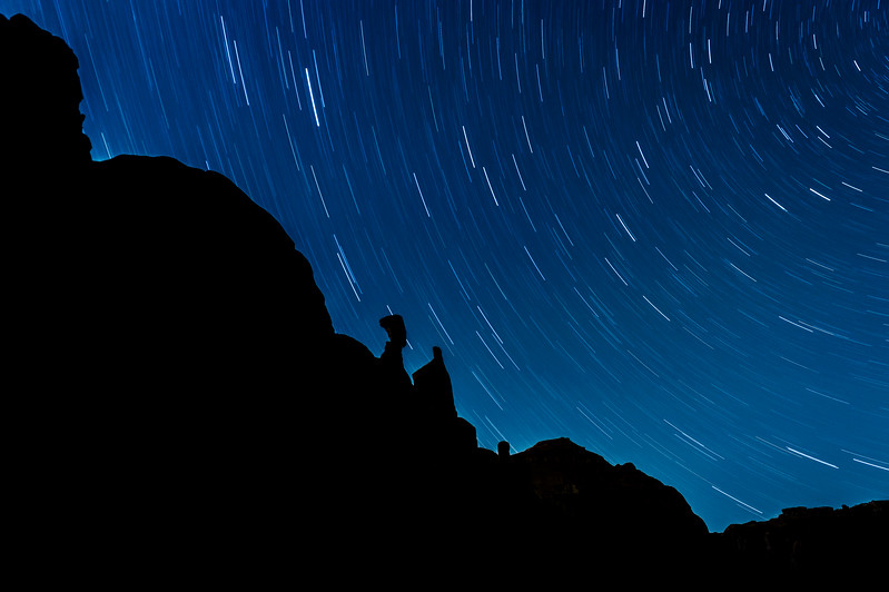 Star Trails over Queen Nefertiti Rock, Park Avenue, Arches National Park, Moab, Utah