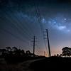 The Milky Way over power lines near Babcock Wildlife Management Area near Punta Gorda, Florida