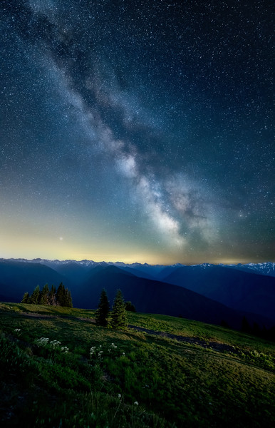 The Milky Way over the Olympic Mountains at Hurricane Ridge, Olympic National Park, Washington State