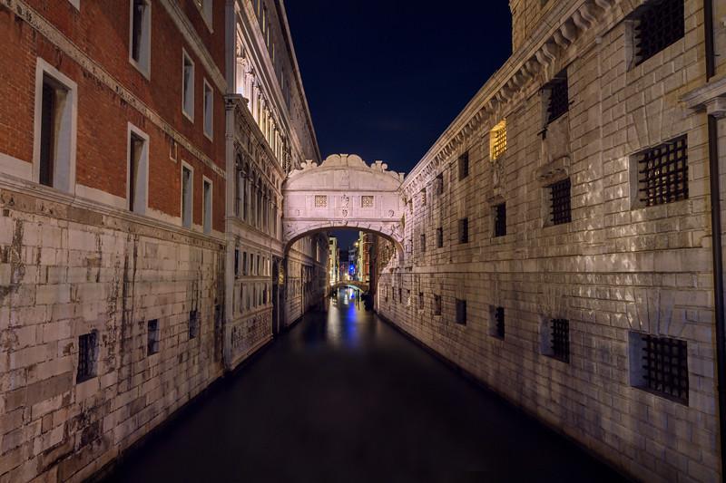 The Bridge of Sighs at night, Venice, Italy
