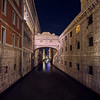 The Bridge of Sighs at night.  It is connected to the Doge's Palace near St. Mark's Square, Venice, Italy., passes over the Rio de Palazzo.