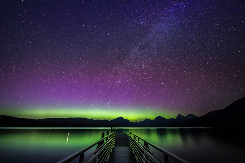 Northern Lights and Milky Way over Lake McDonald, Glacier National Park, Montana