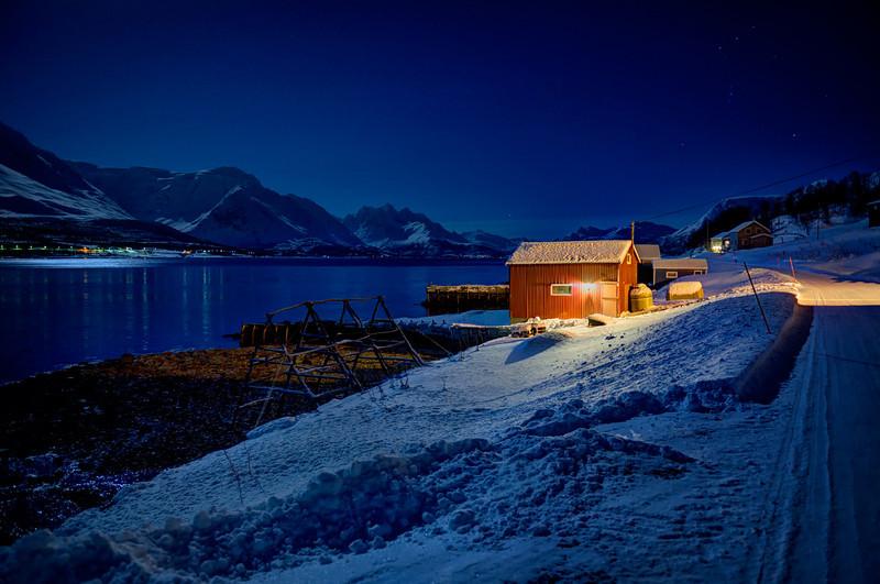 Red Fishing Hut at Night, Sjursnes, Norway