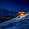 Red Fishing Hut at Night, Sjursnes, Norway